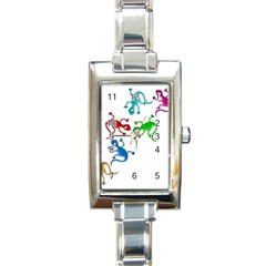 Colorful Lizards Rectangle Italian Charm Watch by Valentinaart
