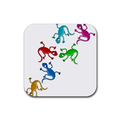 Colorful Lizards Rubber Square Coaster (4 Pack)  by Valentinaart