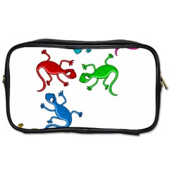 Colorful Lizards Toiletries Bags 2 Side by Valentinaart