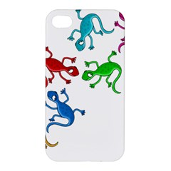 Colorful Lizards Apple Iphone 4/4s Premium Hardshell Case by Valentinaart