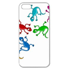 Colorful Lizards Apple Seamless Iphone 5 Case (clear) by Valentinaart