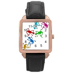 Colorful Lizards Rose Gold Leather Watch  by Valentinaart