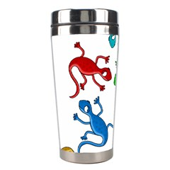 Colorful Lizards Stainless Steel Travel Tumblers by Valentinaart