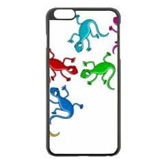 Colorful Lizards Apple Iphone 6 Plus/6s Plus Black Enamel Case by Valentinaart
