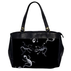 Black And White Lizards Office Handbags by Valentinaart