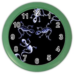 Blue Decorative Artistic Lizards Color Wall Clocks by Valentinaart