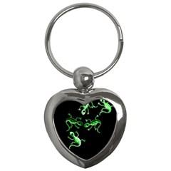 Green Lizards Key Chains (heart)  by Valentinaart
