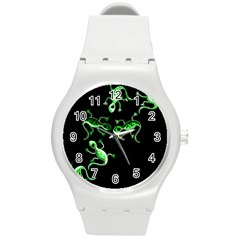 Green Lizards Round Plastic Sport Watch (m) by Valentinaart