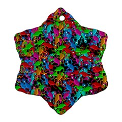 Lizard Pattern Snowflake Ornament (2 Side) by Valentinaart