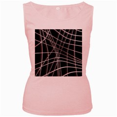 Black and white warped lines Women s Pink Tank Top by Valentinaart