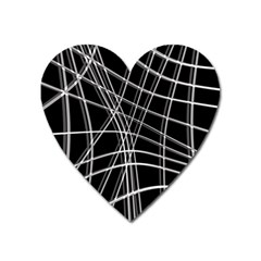 Black And White Warped Lines Heart Magnet by Valentinaart