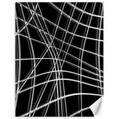 Black And White Warped Lines Canvas 18  X 24   by Valentinaart