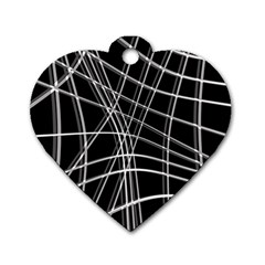 Black And White Warped Lines Dog Tag Heart (one Side) by Valentinaart