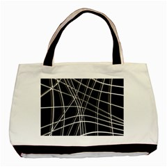 Black And White Warped Lines Basic Tote Bag (two Sides) by Valentinaart