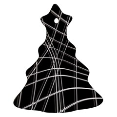 Black And White Warped Lines Ornament (christmas Tree) by Valentinaart