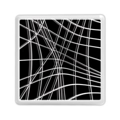 Black And White Warped Lines Memory Card Reader (square)  by Valentinaart