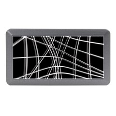 Black And White Warped Lines Memory Card Reader (mini) by Valentinaart