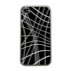 Black And White Warped Lines Apple Iphone 4 Case (clear) by Valentinaart