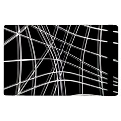 Black And White Warped Lines Apple Ipad 3/4 Flip Case by Valentinaart