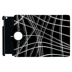 Black And White Warped Lines Apple Ipad 3/4 Flip 360 Case by Valentinaart