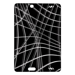 Black And White Warped Lines Amazon Kindle Fire Hd (2013) Hardshell Case by Valentinaart
