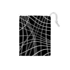 Black And White Warped Lines Drawstring Pouches (small)  by Valentinaart
