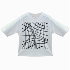 White And Black Warped Lines Infant/toddler T Shirts by Valentinaart