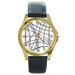 White And Black Warped Lines Round Gold Metal Watch by Valentinaart