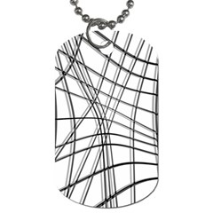 White And Black Warped Lines Dog Tag (two Sides) by Valentinaart