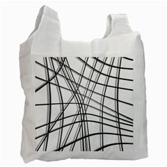 White And Black Warped Lines Recycle Bag (one Side) by Valentinaart
