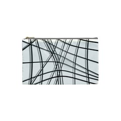 White And Black Warped Lines Cosmetic Bag (small)  by Valentinaart