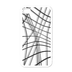 White And Black Warped Lines Apple Iphone 4 Case (white) by Valentinaart