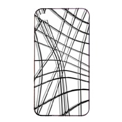 White And Black Warped Lines Apple Iphone 4/4s Seamless Case (black) by Valentinaart