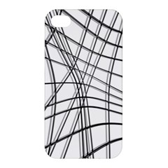 White And Black Warped Lines Apple Iphone 4/4s Hardshell Case by Valentinaart