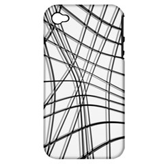 White And Black Warped Lines Apple Iphone 4/4s Hardshell Case (pc+silicone) by Valentinaart