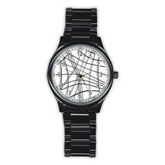 White And Black Warped Lines Stainless Steel Round Watch by Valentinaart