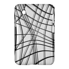White And Black Warped Lines Samsung Galaxy Tab 2 (7 ) P3100 Hardshell Case  by Valentinaart