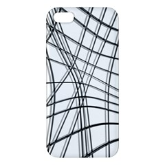 White And Black Warped Lines Iphone 5s/ Se Premium Hardshell Case by Valentinaart