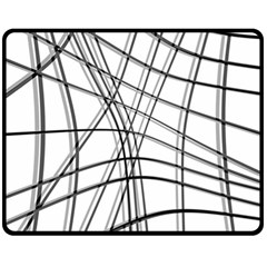 White And Black Warped Lines Double Sided Fleece Blanket (medium)  by Valentinaart