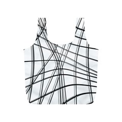 White And Black Warped Lines Full Print Recycle Bags (s)  by Valentinaart