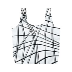 White And Black Warped Lines Full Print Recycle Bags (m)  by Valentinaart