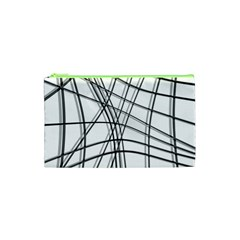 White And Black Warped Lines Cosmetic Bag (xs) by Valentinaart