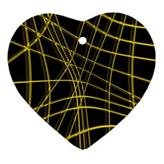 Yellow Abstract Warped Lines Ornament (heart)  by Valentinaart