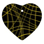 Yellow abstract warped lines Ornament (Heart)  Front
