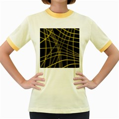 Yellow Abstract Warped Lines Women s Fitted Ringer T Shirts by Valentinaart