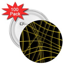 Yellow Abstract Warped Lines 2 25  Buttons (100 Pack)  by Valentinaart