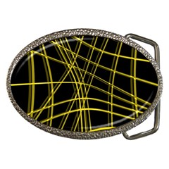 Yellow Abstract Warped Lines Belt Buckles by Valentinaart