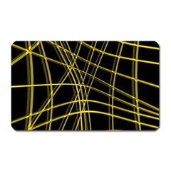 Yellow Abstract Warped Lines Magnet (rectangular) by Valentinaart