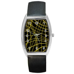 Yellow Abstract Warped Lines Barrel Style Metal Watch by Valentinaart