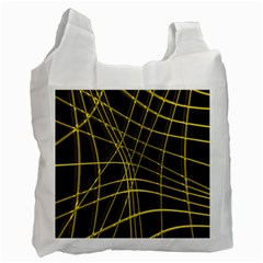 Yellow Abstract Warped Lines Recycle Bag (one Side) by Valentinaart